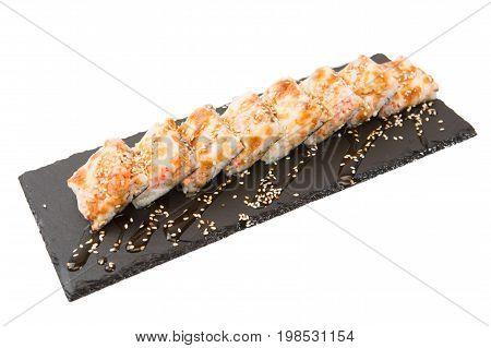 Fried Sushi Salmon Sushimi On A Black Surface On White