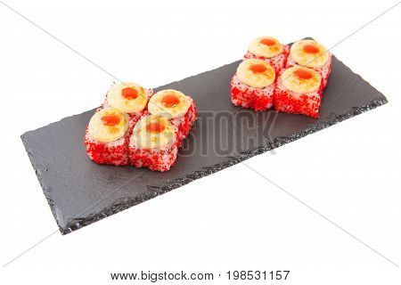 Fried Rolls With Cheese And Fried Fish On Black Slate Or Stone Shale Surface On White Background