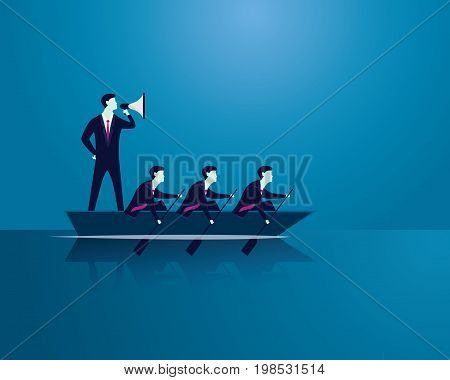 Vector illustration. Business teamwork leadership concept. Businessmen working in team Group of people rowing boat together. Bossy leader using megaphone to shout and motivating his team to move forward for success