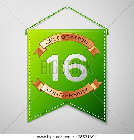 Realistic Green pennant with inscription Sixteen Years Anniversary Celebration Design over a grey background. Golden ribbon. Colorful template elements for your birthday party. Vector illustration