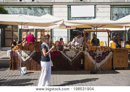 LUBLIN POLAND- 29 july 2017- street shop sellers offering local products during Carnaval Sztukmistrzow festival