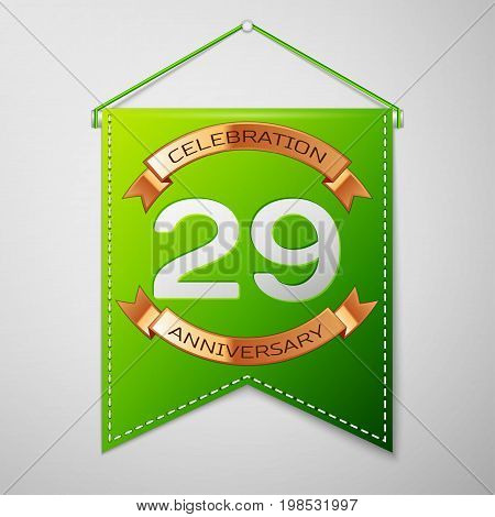 Realistic Green pennant with inscription Twenty nine Years Anniversary Celebration Design on grey background. Golden ribbon. Colorful template elements for your birthday party. Vector illustration