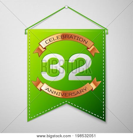 Realistic Green pennant with inscription Thirty two Years Anniversary Celebration Design on grey background. Golden ribbon. Colorful template elements for your birthday party. Vector illustration