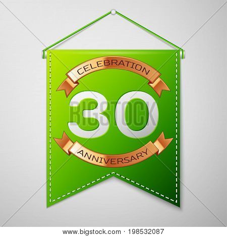 Realistic Green pennant with inscription Thirty Years Anniversary Celebration Design on grey background. Golden ribbon. Colorful template elements for your birthday party. Vector illustration