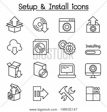 Setup configuration maintenance & Installation icon set in thin line style