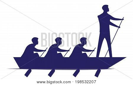Vector silhouette illustration. Business teamwork leadership concept. Businessmen working in team Group of people rowing boat together. Leader work with and motivating his team to move forward for success