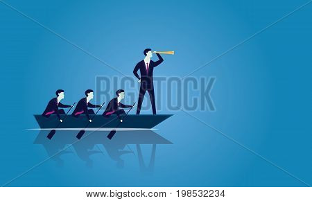 Vector illustration. Business teamwork leadership concept. Businessmen working in team Group of people rowing boat together moving forward. Leader looking for success with telescope visionary motivating his team