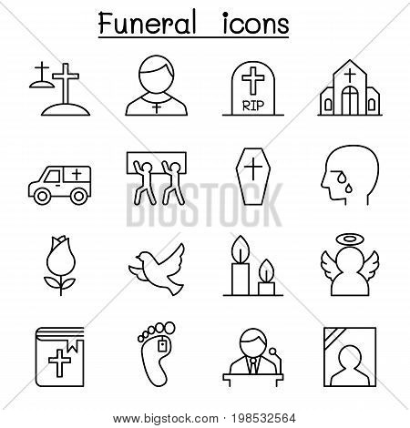 Funeral & burial icon set in thin line style