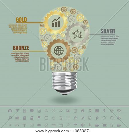 Golden silver and bronze gears in light bulb with set of modern icons, vector design template