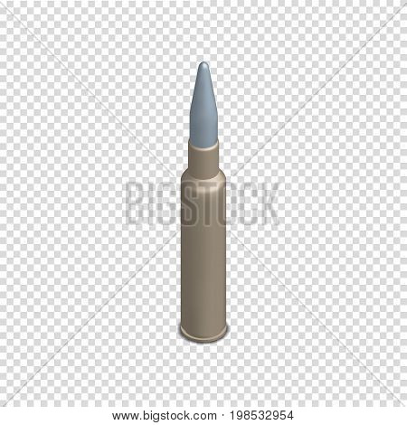 Photorealistic cartridge with a bullet on white background. Design element firearms. 3D isometric style vector illustration.