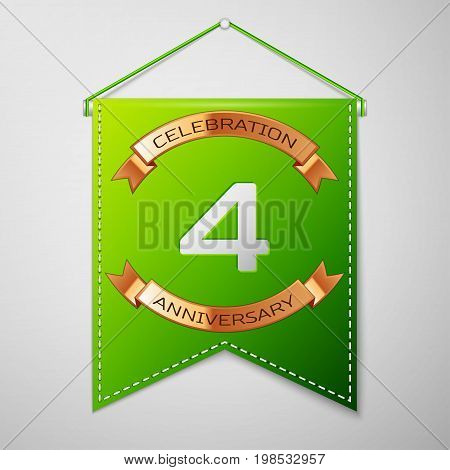 Realistic Green pennant with inscription Four Years Anniversary Celebration Design over a grey background. Golden ribbon. Colorful template elements for your birthday party. Vector illustration