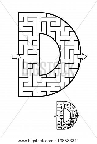 Back to school or regular learning reinforcement alphabet activity for kids - letter D maze. Use as is or add fun cartoon characters. Answer included.