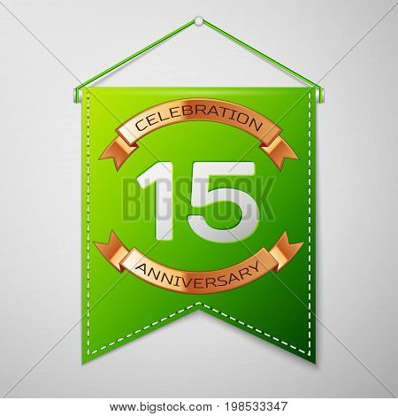 Realistic Green pennant with inscription Fifteen Years Anniversary Celebration Design over a grey background. Golden ribbon. Colorful template elements for your birthday party. Vector illustration