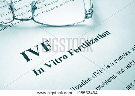 Document with title IVF (In Vitro Fertilization).