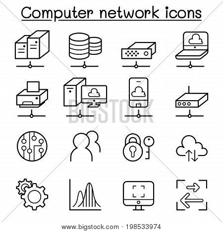 Computer Network & Cloud computing icon set in thin line style