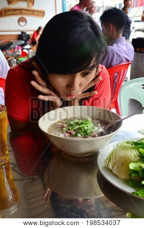 Traveler Thai Women Take Photo With Noodle Soup Vietnam Style Vietnamese Called Pho