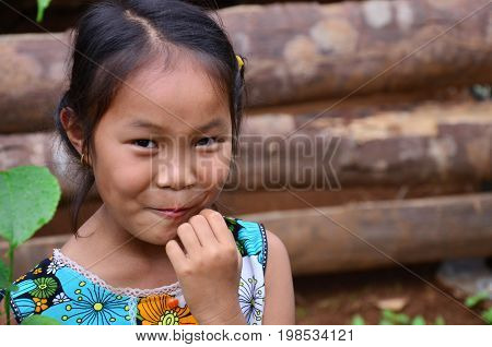 Children Laotian People Posing For Take Photo In House