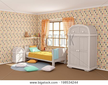 children's room in vintage country style with rhombuses