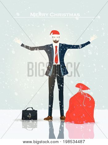 Businessmen with wide open hands in the Santa hat with big red sack of presents. Christmas in business, concept illustration