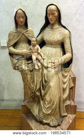 VERONA ITALY - MAY 1 2016: Madonna and Child with Saint Anne in Castelvecchio Museum. Verona Italy
