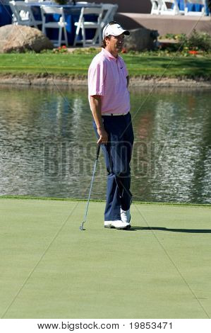 SCOTTSDALE, AZ - OCTOBER 21: Stephen Ames waits to putt in the Frys.com Open PGA golf tournament on October 21, 2009 in Scottsdale, Arizona.