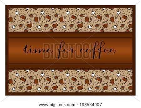 Coffee time banner design for coffee shop restaurant menu cafeteria. There is always time for coffee . .Coffee background with a coffee cup for cafe. banner for coffee break time.