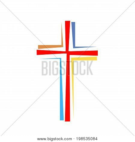 Colored Christian cross icon. Simple Christian cross on white background. Vector illustration.