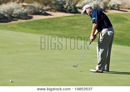 SCOTTSDALE, AZ - OCTOBER 22: D.A. Points putts in the Frys.com Open PGA golf tournament on October 22, 2009 in Scottsdale, Arizona.