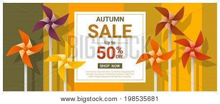 Autumn sale banner with colorful pinwheels , vector , illustration