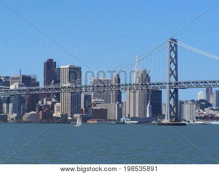 San Francisco Bay sky line by the Pacific Sea