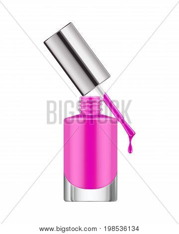 Realistic nail polish bottle. Pink polish nail bottle with brush and a drop of varnish. Product, makeup, nail care. Realistic template vector illustration