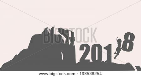 Silhouette young woman jumping over 2018 year number at the hill while celebrating new year.