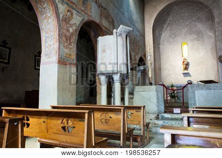 MUGGIA, ITALY - MAY, 14: Interior of the Basilica of Santa Maria Assunta in the old town of Muggia on May 14, 2017