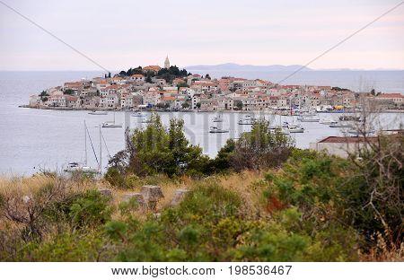 Historical town Primosten on peninsula in Croatia