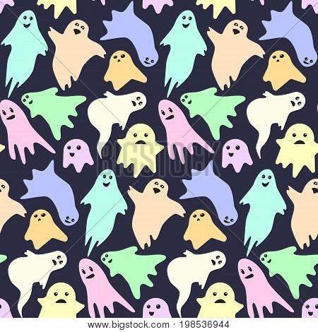 Seamless pattern with cute little scary colorful ghosts on dark background. Nice kids spooky halloween texture for textile, wrapping paper, cover, background, wallpaper, surface, web design