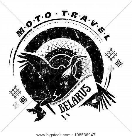 Moto travel emblem with bird stork, wheel on background. National, ethnic symbol. Stencil, t-shirt