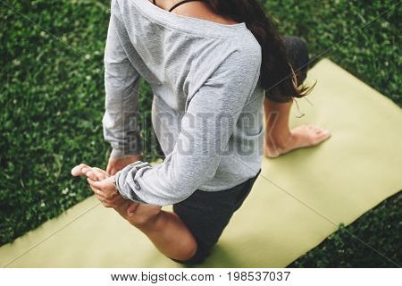 Calmness And Relax. Young Woman Practicing Yoga. Asana Clouse-up