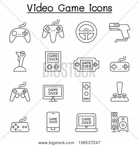 Video Game & Joystick icon set in thin line style