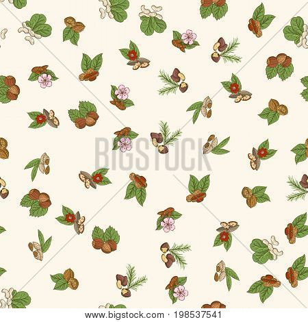 Vector seamless pattern with nuts in hand drawn style. Vector illustration EPS10.