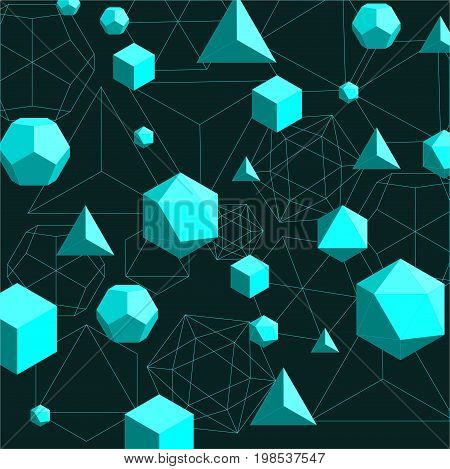 Abstract 3d geometrical polygonal background with cyan color shapes -platonic solids on dark green background. Vector illustration in flat style.