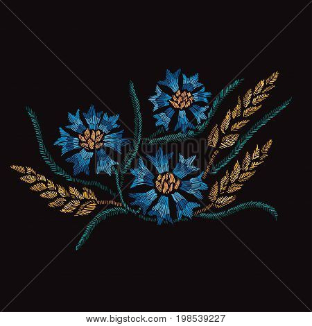 Elegant bouquet with cornflowers and wheat design element. Can be used for decorations fabrics manufacturing cards invitations. Embroidery style.