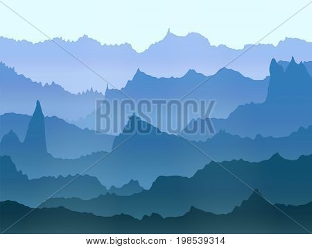 abstract vector blue watercolor misty mountains landscape