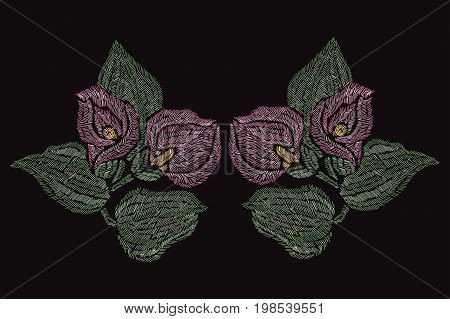 Elegant hand drawn decoration with pink calla flowers in embroidery style design element. Can be used for fashion ornaments fabrics manufacturing clothing design