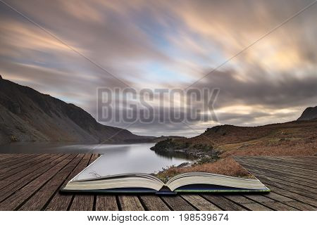 Beautiful Landscape Image Of Mountains Around Wast Water In Lake District England In Autumn Concept