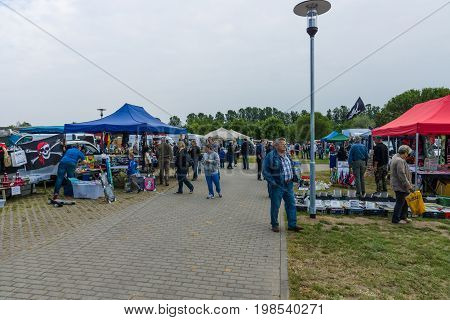PAAREN IM GLIEN GERMANY - MAY 23 2015: The exhibition is held a flea market for the sale of spare parts for vintage cars. The oldtimer show in MAFZ.
