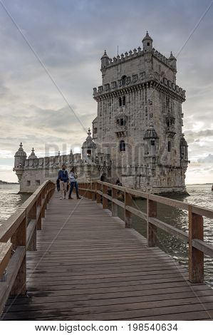 LISBON PORTUGAL - OCTOBER 13 2015: Belem Tower or the Tower of Saint Vincent is a fortified tower located in Lisbon Portugal