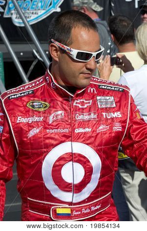 AVONDALE, AZ - APRIL 10: NASCAR driver Juan Pablo Montoya makes an appearance before the start of the Subway Fresh Fit 600 on April 10, 2010 in Avondale, AZ.