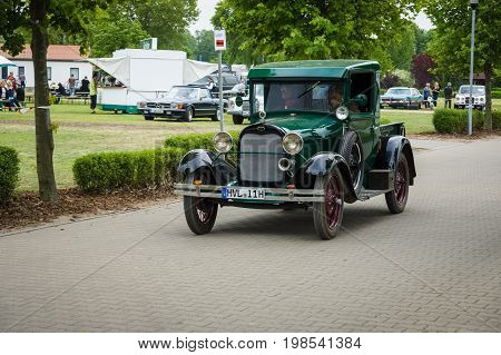 PAAREN IM GLIEN GERMANY - MAY 23 2015: Vintage car Ford Model A pickup. The oldtimer show in MAFZ.