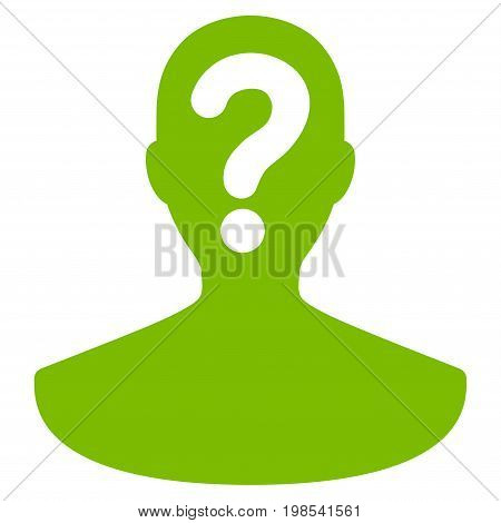 Unknown Person vector icon. Flat eco green symbol. Pictogram is isolated on a white background. Designed for web and software interfaces.