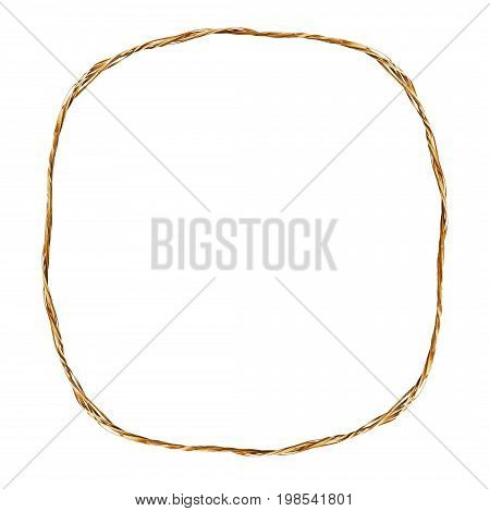 Frame from raffia rope isolated on white